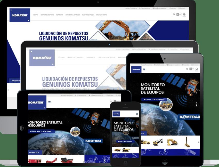 Desarrollo sitio web múltiple para Komatsu Latinoamérica
