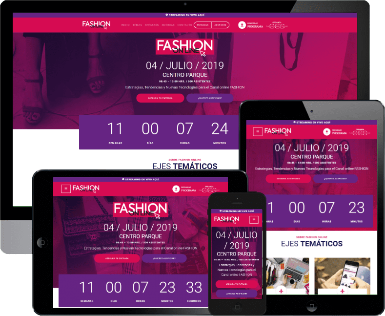 Sitio web evento Fashion Online de la CCS