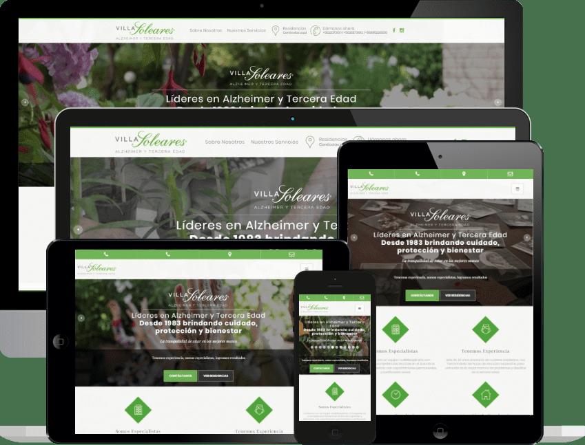 Desarrollo sitio web responsivo residencias Villa Soleares