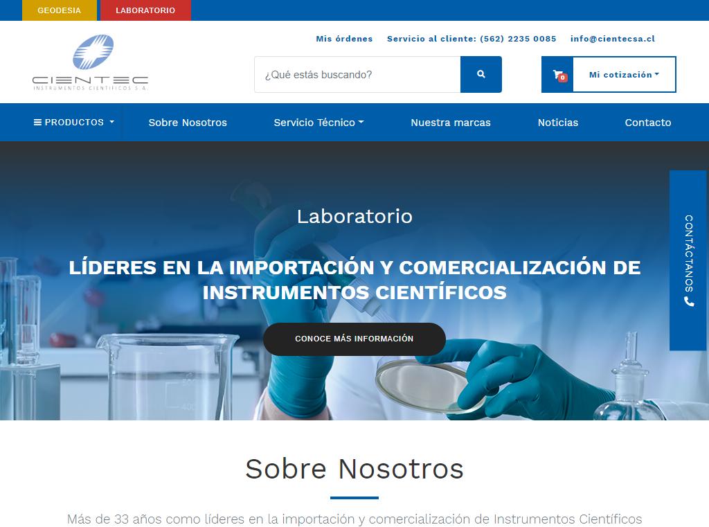 Sitio web B2B para Cientec Instrumentos